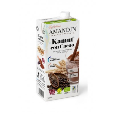 AMANDIN  Organic Vegan Low Sugar Kamut Drink with Cocoa 有機全素低糖低脂低鹽古麥可可奶 1000ml