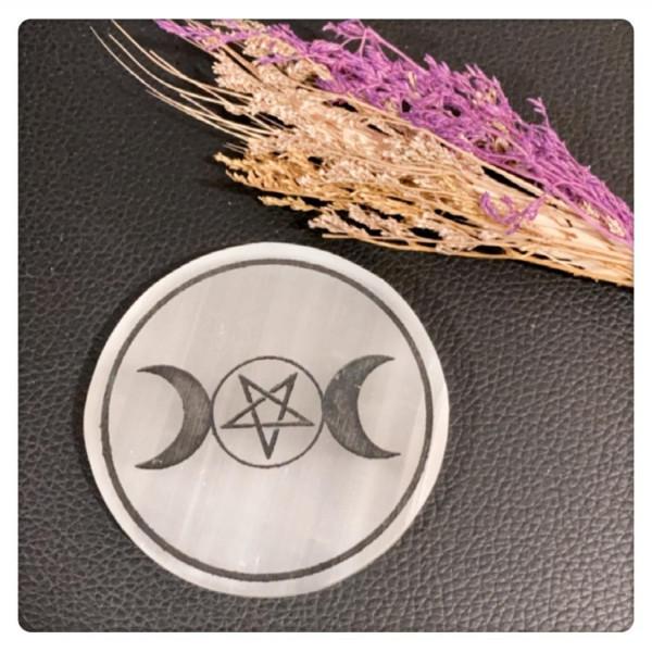 RL Organic Selenite 透石膏圓形擺件 (五芒星Triple Goddess)