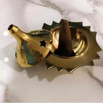 "RL Organic Brass Cone/Charcoal Burner 黃銅錐形星星香爐 2""高"