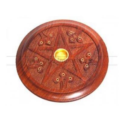 Wooden Ashcatcher 五芒星木製香枝碟(線香台/香枝插)